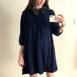 Vintage Marc Jacobs swing dress in navy wool.